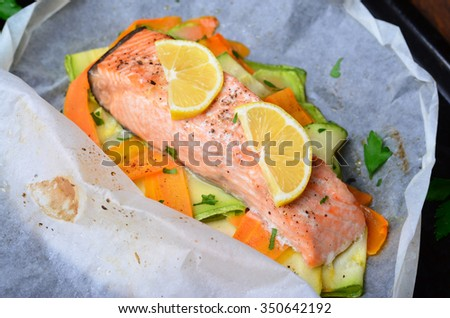 Salmon Baked In Parchment Paper With Zucchini And Carrot