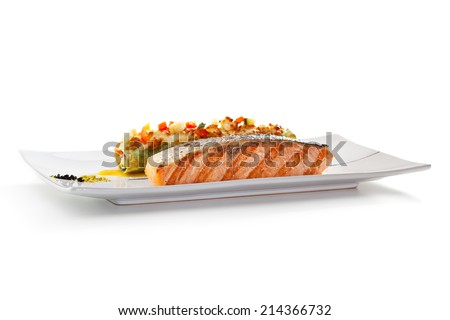 Salmon BBQ Steak with Cannelloni - stock photo