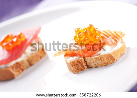 Salmon Canapes on a Baguette with Cream Cheese - stock photo
