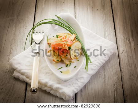 salmon carpaccio with slice ovum mushroom salad - stock photo