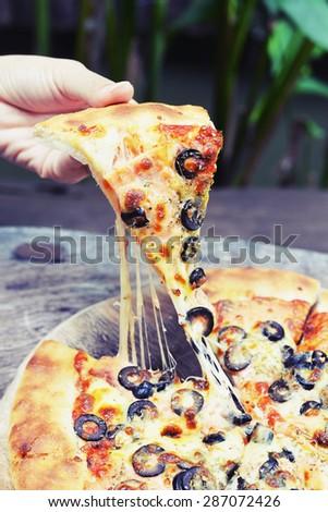 salmon cheese pizza - stock photo