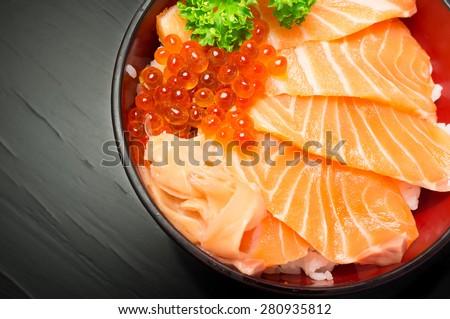 Salmon Chirashi or shake / sake served with preserved ginger - Selective focus - stock photo