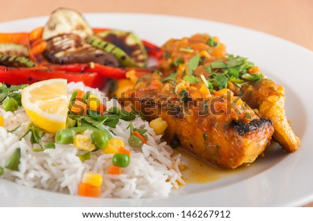 Salmon fillet with basmati rice - Indian cuisine