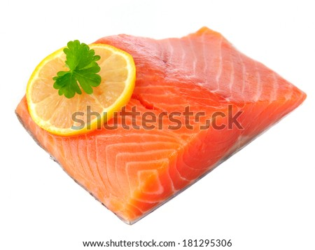 Salmon Fillet with Lemon Isolated on White Background - stock photo