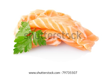 Salmon fish isolated on white, clipping path included - stock photo