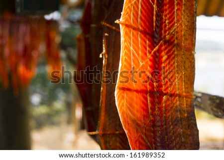 Salmon Fish Meat is cut and hanged to dry outdoors in the Native American lodge - stock photo