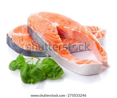 salmon fish steak isolated - stock photo