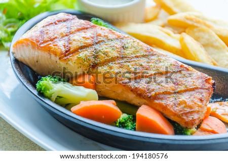 Salmon grilled - stock photo