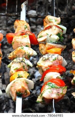 Salmon kebabs - stock photo