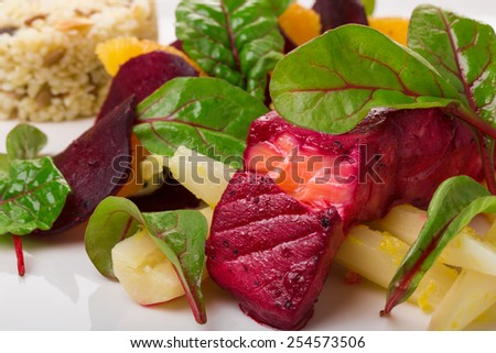 salmon marinated in beetroots - stock photo