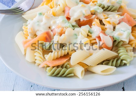 salmon mix pasta on white plate with herbs - stock photo