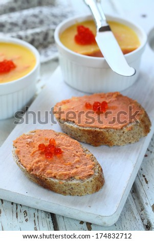 Salmon pate with caviar - stock photo
