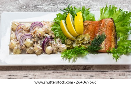 Salmon potato salad - stock photo