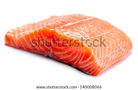 Salmon Raw Fillet. Red Fish isolated on a White Background - stock photo