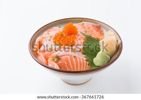 salmon rice bowl isolated on white background, sashimi on rice, donburi, japanese food - stock photo