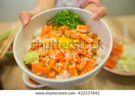 salmon rice, japanese food - stock photo