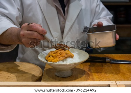 Salmon Roe and Sea Urchin with rice bowl menu in Japanese restaurant