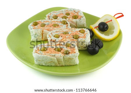 Salmon roll and cheese with olives and lemon isolated on a white background - stock photo
