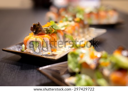 Salmon roll sushi with avocado , crab and vegetable - Healthy japanese restaurant food - stock photo
