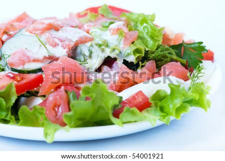 Salmon salad - stock photo
