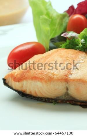 Salmon salad background mixes vegetable - stock photo