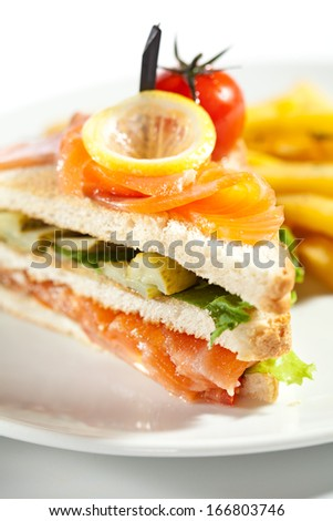 Salmon Sandwich Garnished with French Fries - stock photo