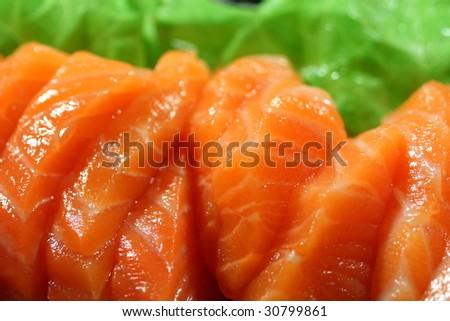 salmon sashimi closeup - stock photo