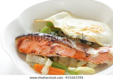 salmon sauteed with egg