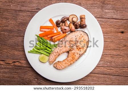 Salmon steak. - stock photo