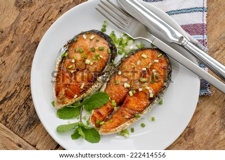 Salmon steak Grill butter  - stock photo