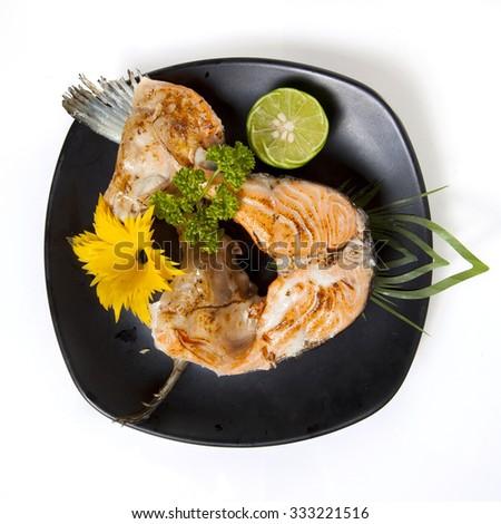 Salmon steak grilled - stock photo