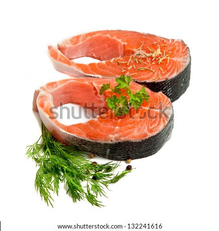 Salmon steak red fish  isolated in white