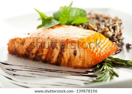 Salmon Steak with Rice - stock photo