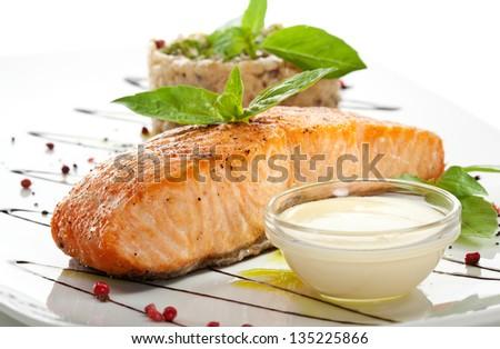 Salmon Steak with Risotto - stock photo