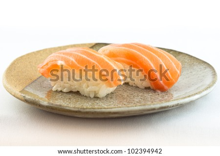 Salmon Sushi Dish - stock photo