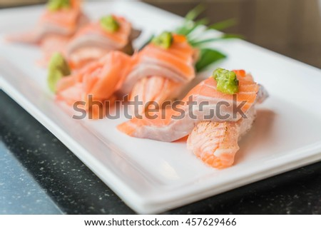 salmon sushi rolls - japanese food