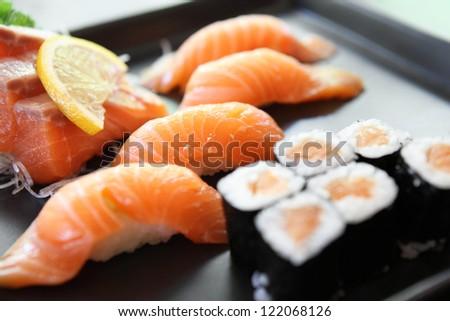 Salmon Sushi set - stock photo