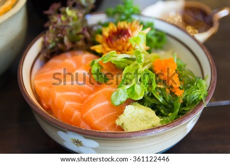 salmon with rice in bowl, japanese food