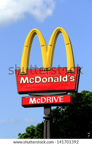 SALO, FINLAND - JUNE 2: A Logo of McDonalds at a restaurant in Salo, Finland on June 2, 2013. McDonalds announced the 73 first ever Ray Kroc awards for Europe on 9 May, 2013. - stock photo
