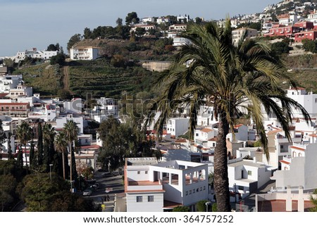 "Salobrenya. Andalusia. Spain. December 20, 2015 - La Caleta district town Salobreña. Traditional ""white houses"" on the coast of the Mediterranean in December 20, 2015 in Salobrenya. Andalusia. Spain."
