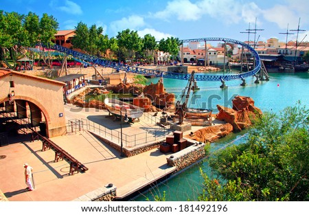 SALOU, COSTA DORADA,SPAIN - JUNE 06, 2007: Port Aventura theme Park in Salou, Spain. It was built in 1995 by a British corporation Tussauds Group and resold in 1997 of Universal Studios.  - stock photo