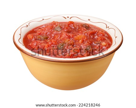 Salsa Bowl isolated on a white background with a clipping path. - stock photo