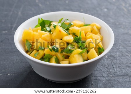 salsa with mango, coriander and curry paste, close-up - stock photo