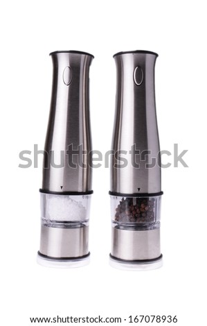 salt and pepper grinder mills isolated on white background - stock photo