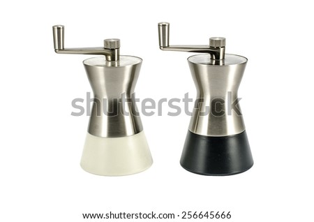 Salt and pepper mills isolated on white