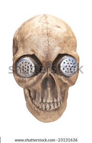 Salt and pepper shaker holder shaped like a human skull.  Isolated on white background, clipping path included. - stock photo