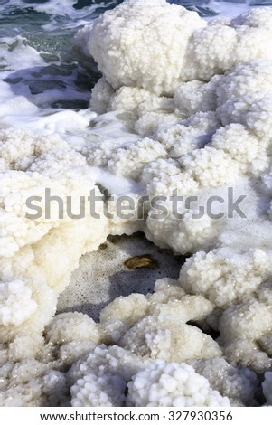 Salt at the Dead Sea in Israel - stock photo