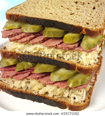 Salt Beef And Sauerkraut On Rye