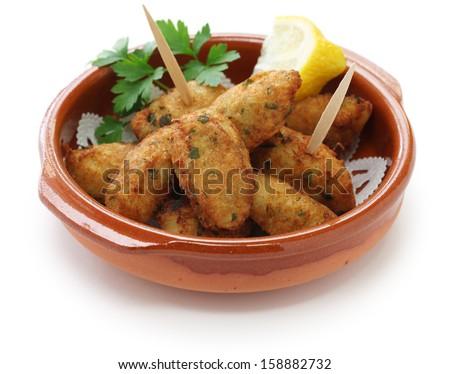 salt cod croquettes,bolinhos de bacalhau,pasteis de bacalhau,bunuelos de bacalao - stock photo