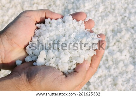 salt crystal on hands